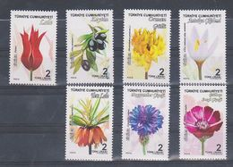 AC - TURKEY STAMP - PLANTS TULIP, OLIVE, RHODODENDRON PONTICUM L, CROCUS ANTALYENSUS, CROWN IMPERIAL, CORNFLOWER, LOVE F - 1921-... Republic