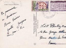 2 Timbres S/ Carte Postale ANDORRE.  0.30  Violet (1980) + 1.40 Casa De La Valle . IV Centenari De La Restauracio (1983) - Lettres & Documents