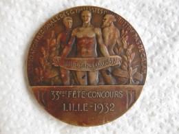 Médaille Cyrille WACHMAR 1879 1929 – 33éme Fête Concours  Lille 1932 Par Dautel - France