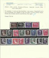 ITALIA REGNO ITALY KINGDOM REPUBBLICA SOCIALE 1944 RSI GNR BRESCIA SERIE COMPLETA COMPLETE SET MNH CERTIFICATO - 4. 1944-45 Social Republic