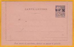 1859-1909 - Carte Lettre Colonies Générales Surchargée SPM St Pierre Et Miquelon 25 Centimes - Non Utilisée - Non Collée - St.Pierre & Miquelon
