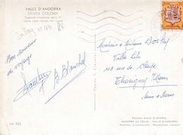 Timbre S/ Carte Postale . ANDORRE.  0.20 Fr Ecu Des Vallées (Santa Coloma Eglise Style Roman XI° S.) - Lettres & Documents