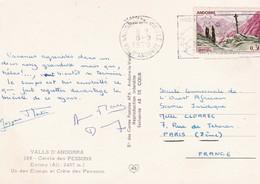 Timbre S/ Carte Postale . ANDORRE. 0.30 Violet / Vert . Croix Gothique MERITXELL (Un Des étangs & Crête Des Pessons ) - Lettres & Documents