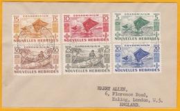 1953 - Enveloppe De Port-Vila, Nouvelles Hébrides, France Vers Londres, Angleterre, GB - YT 144 145 146 147 Et 148 - Cartas