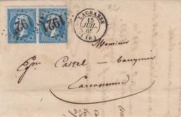 LETTRE 15 JUIL 65. AUDE LAGRASSE GC 1921. PAIRE NAPOLEON 20c.POUR CARCASSONNE   / 2 - Poststempel (Briefe)