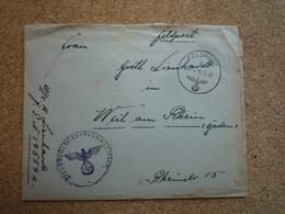 1942 Deutsches Reich Enveloppe Pour Weil Am Rhein Feldpost - Briefe U. Dokumente
