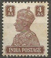 India  - 1941 King George VI 4a MLH *   SG 273  Sc 176 - 1936-47 King George VI