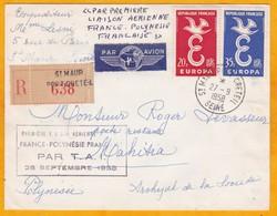 1958 - Enveloppe Recommandée  Par Avion De Saint Maur - Port Créteil Vers Mehetia, îles De La Société - Groupe Du Vent - Luftpost
