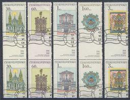 Tchécoslovaquie 1968 Mi 1798-1803 ZS (Yv 1647-52 Les Paires Avec Interpaneau), Obliteré - Gebraucht
