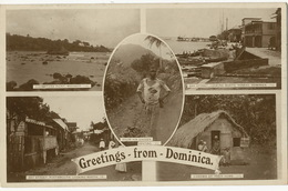 Greetings From Dominica Multiview Roseau Marigot Portsmouth Poor Black Banana Carrier - Dominique
