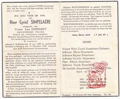 DP Cyriel Simpelaere ° St.-Andries Brugge 1893 † Bekegem Ichtegem 1944 X Irma Cobbaert / Van Coillie Vanhulle - Devotion Images