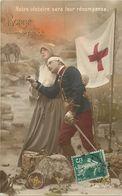 - Themes - Ref-A433- Guerre 1914-18 - Patriotique - Infirmiere Croix Rouge - Sante - Blessé -la Victoire Leur Récompense - Patriotiques