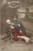 - Themes - Ref-A431- Guerre 1914-18 - Patriotique - Infirmier Croix Rouge - Sante - Blessé Buvant - Honneur Et Devoir - - Patriotiques