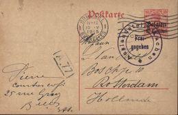 Occupation Allemande De La Belgique Guerre 14 18 Entier Germania 10 Ct Rouge Surcharge Belgien 10c Cachet Frei Gegeben - WW I