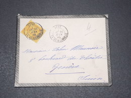 FRANCE - Enveloppe De Lyon Pour Genève En 1884 , Affranchissement Sage - L 15376 - Postmark Collection (Covers)