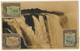 Nyassaland Companhia Do Nyassa Falls Cataract Island 3 Stamps To Havana Cuba Tuck - Mozambique