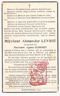 DP Alexander Levrie ° Tienen 1872 † Laar 1945 X Agnes Closset / Casters Billiau Striys Dor Degroot Engels - Devotieprenten