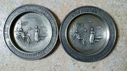 3x ETAIN ZINN FRIELING GERMANY Dessous De Verre Gravé 9cm - Serie LINDEN GUEREZEICHEN ZINNGERAT RAL - Stagno