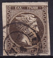GREECE 1876 Large Hermes Head Athens Print 30 L Deep Olive Brown Vl. 59 A - Gebruikt