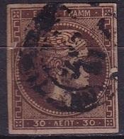 GREECE 1876 Large Hermes Head Athens Print 30 L Brown Vl. 59 - Gebruikt