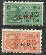 ITALIA REGNO ITALY KINGDOM 1943 1944 REPUBBLICA SOCIALE RSI ESPRESSO SPECIAL DELIVERY GNR SERIE SET MNH FIRMATA SIGNED - 4. 1944-45 Repubblica Sociale