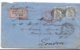 Pfg251 / Frankfurt A.M. Nach London 1881, Einschreiben Mit 2 X Mi.Nr. 42 - Allemagne