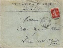 GARD - 30 - BEAUVOISIN  - TàD De Type A3 - 1913 - Marcophilie (Lettres)