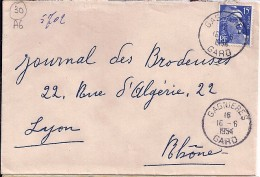 GARD - 30 - GAGNIERES - TàD De Type A6 - 1954 - Marcophilie (Lettres)