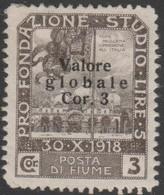 Fiume 1919 3 Kor  Sa97 1v MH/* - 8. WW I Occupation