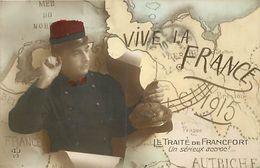 - Themes - Ref-A404- Guerre 1914-18 - Patriotique - Accroc Au Traite De Francfort - Carte D Europe 1915 - - Patriotiques