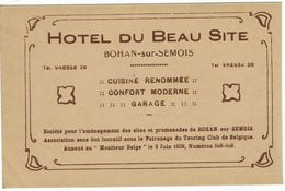 BOHAN SUR SEMOIS -PUBLICITE HOTEL DU BEAU SITE - Vresse-sur-Semois
