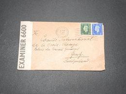 GRANDE BRETAGNE - Enveloppe De Manchester Pour La Croix Rouge De Genève En 1941 Avec Contrôle Postal - L 15409 - Marcofilie