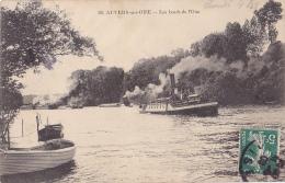 """Carte Recollée - Les Bords De L'Oise (Vapeur """"Guêpe N° 35  S.G.T.R. Tractant Un Convoi De Chalands) Circ 1909 - Auvers Sur Oise"""