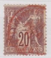 FRANCE  YT N° 96  CACHET ROUGE DES IMPRIMES - 1876-1898 Sage (Type II)