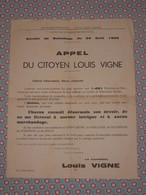 Petite Affiche 13 Saint Rémy De Provence - Appel Du Citoyen Louis Vigne - Ballotage 1955 - Maussane Paradou Maillane - Affiches