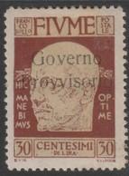 Fiume 1921 30 Cent Sa154 1v MH/* - 8. Occupazione 1a Guerra