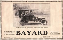 Automobiles De Ville Et De Tourisme Bayard Coupé 12/18 HP - Rachel Launay -  A Clément Constructeur - Publicité 1908 - Pubblicitari
