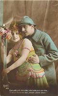 """- Themes - Ref-A388- Guerre 1914-18 - Patriotique - Poilu En Couple - """" Vous Avez Pris Mon Coeur .. """" - - Patriotiques"""