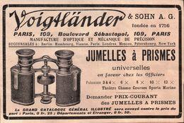 Voigtländer Jumelles à Prisme En Faveur Chez Les Officiers - Publicité 1908 - Advertising