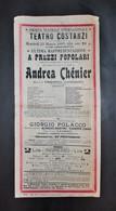 Musica Lirica - Locandina - Rappresentazione Andrea Chènier - 1909 - Special Formats