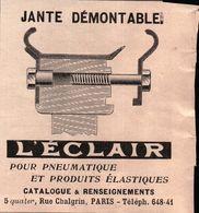 Jante Démontable L'éclair Pour Pneumatiques Et Produits élastiques - Publicité 1908 - Reclame