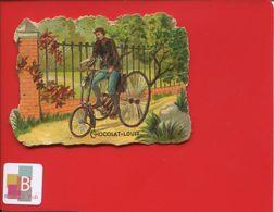 Chocolat Louit Jolie Chromo Découpis Homme Vélo Tricycle Avec Lanterne En L'état - Louit