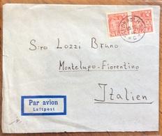 SVERIGE SVEZIA  20 O. Payer  COVER Par Avion To STOKHOLM  FROM MONTELUPO FIORENTINO   ITALY THE  15/10/46 - Francobolli