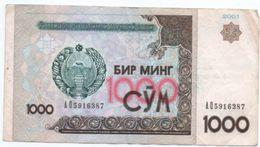 Uzbekistan  -  1000 Sum  2001  --  Pick # 82  - état  TB - Billets