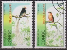 Faune, Oiseaux - REPUBLIQUE DU CONGO - Insecte: Araignée Avicule - Avions: Hydravions - 1993 - Oblitérés