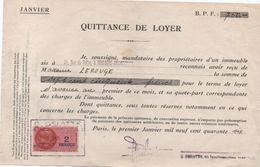 Quittance De Loyer /Reçu/Timbre Fiscal 2 Francs/ Boulogne-Billancourt/ 1946                       QUIT23 - Old Paper
