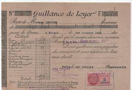 Quittance De Loyer /Reçu/Timbre Fiscal 2 Francs/ Boulogne-Billancourt/ 1946                       QUIT24 - Old Paper