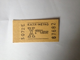 Ticket ,RATP ,METRO 2 Ieme Classe, Avant Guerre - Europe