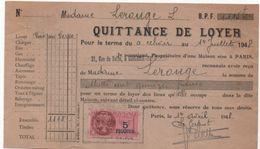 Quittance De Loyer /Reçu/Timbre Fiscal 5  Francs/ Boulogne-Billancourt/ 1948                      QUIT25 - Old Paper