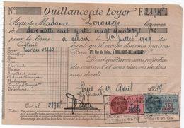 Quittance De Loyer /Reçu/Timbre Fiscal 10 Francs Et 1,50 Franc/ Boulogne-Billancourt/ 1949                      QUIT26 - Old Paper